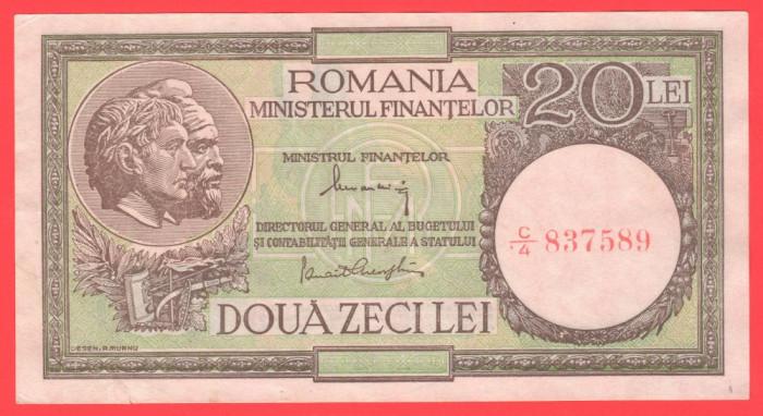 Romania - 20 lei august 1947 Alexandrini + Gheorghiu - filigran 6 XF, ruptura