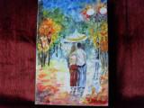 Doi sub o umbrela-pictura ulei pe panza