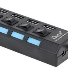 Hub USB Quer PRO KOM0940, 4 port USB 3.0 (Negru)