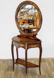Masa de toaleta cu oglinda din lemn masiv furniruit CAT-Spiegelkonsole