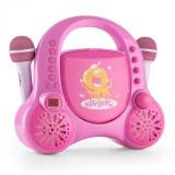 Auna Rockpocket pentru copii Karaoke SistemCD AUX 2x microfon autocolant Set roz