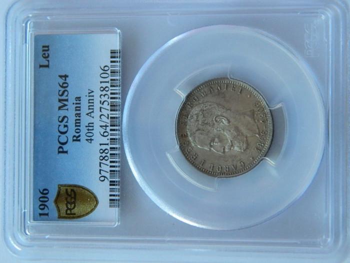 1 leu 1906 PCGS MS64