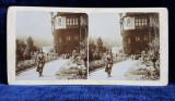 SINAIA , VEDERE DIN GRADINA CASTELULUI PELES , FOTOGRAFIE STEROSCOPICA , MONOCROMA , PE SUPORT DE CARTON , CCA. 1900