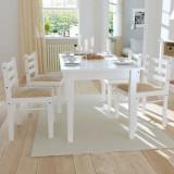 Scaune de bucătărie, 4 buc., alb, lemn masiv hevea & catifea, vidaXL