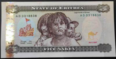 Bancnota EXOTICA 5 NAFKA - REPUBLICA ERITREA, anul 1997   *Cod 945 B = UNC foto