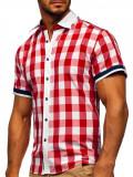 Cumpara ieftin Cămașă elegantă pentru bărbat în carouri cu mâneca scurtă roșie Bolf 8901