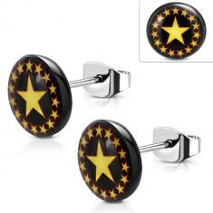 Cercei din oțel, cerc negru cu stele galbene-roșii