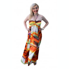 Rochie rafinata de vara, design abstract portocaliu, bust buretat