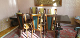 Masa din lemn masiv cu 6 scaune, Antique