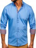 Cămașă elegantă cu mâneca lungă pentru bărbat albastru-deschis Bolf 0926