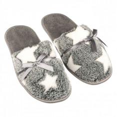 Papuci de dama, model cu stelute albe, marime 36-37, gri/alb