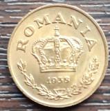 (MR25) MONEDA ROMANIA - 1 LEU 1938, AUNC, LUCIU DE BATERE, KM#56