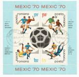 România, LP 729a/1970, C.M. de Fotbal - Mexic, bloc dantelat, eroare 1