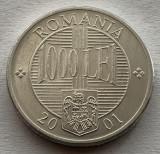1000 Lei 2001 Al, Romania UNC, Luciu batere, Aluminiu