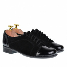 Pantofi dama piele naturala, casual negri - P53LACSN