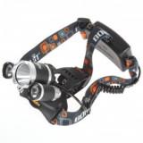 Lanterna frontala cu acumulatori 3 led-uri si zoom