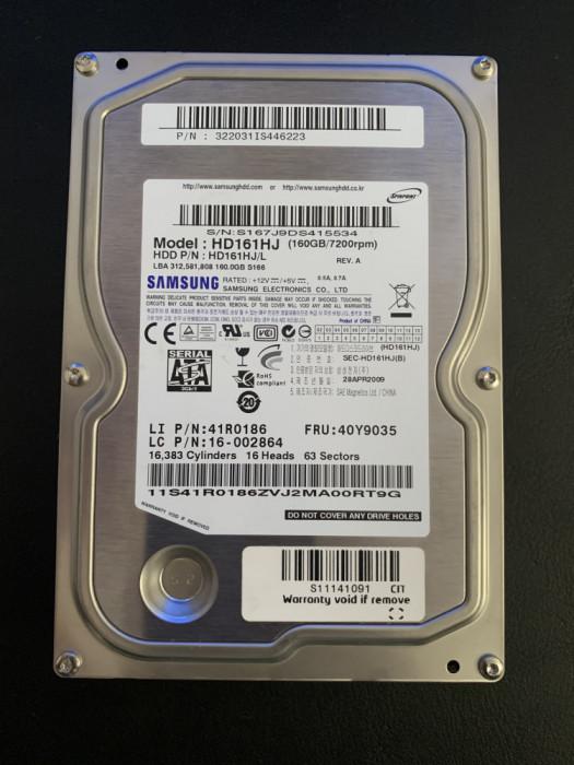 HDD Hard Disk 160GB SAMSUNG HD161HJ, SATA2, 7200 rot/min, Cache 8MB