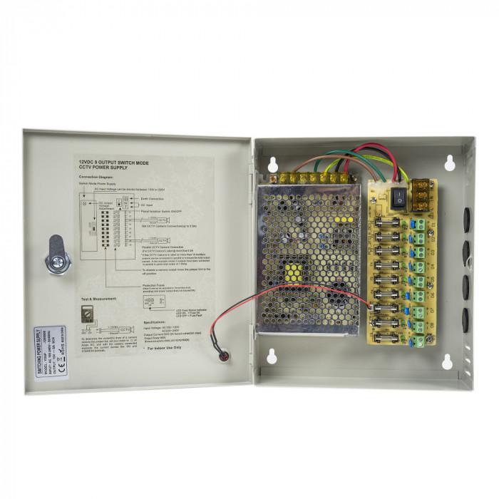 Aproape nou: Sursa alimentare CCTV PNI STC5A in cutie metalica 12V-5A 9 iesiri