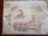 Exceptionala harta Romania Mare,unicat,uriasa,140x120cm,caserata,pt.exp.Paris,