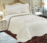 Cuvertură de pat Valentini Bianco Piquet, model Biyela Crem
