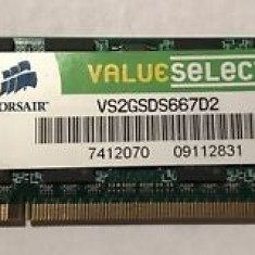 Memorie Laptop SODIMM Corsair ValueSelect 2GB DDR2 PC-5300S 667Mhz