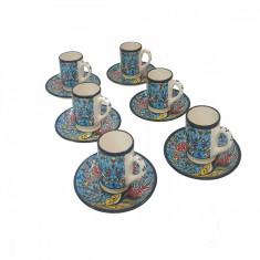 Set pentru cafea, portelan, 12 piese, 600 ml, multicolor turcuaz, EHA