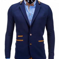 Sacou pentru barbati bleumarin casual slim fit cu buzunare aplicate elegant inchidere doi nasturi M10