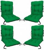 Set 4 perne decorative pentru scaun de bucatarie cu spatar, dimensiune sezut 42x40 cm, spatar 42x50 cm, culoare verde, Palmonix