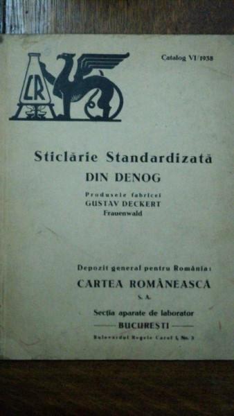 Sticlarie standardizata, produsele fabricii Gustav Deckert, catalog VI 1938