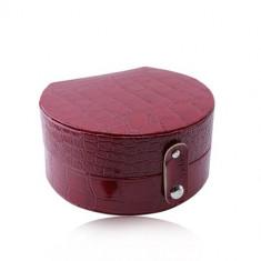 Cutie de bijuterii roșie - imitație de piele de crocodil, formă de semicerc, închidere cu prindere