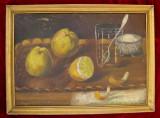 Tablou anii 20 Natura statica cu gutui pictura in ulei, inramat 28x38cm
