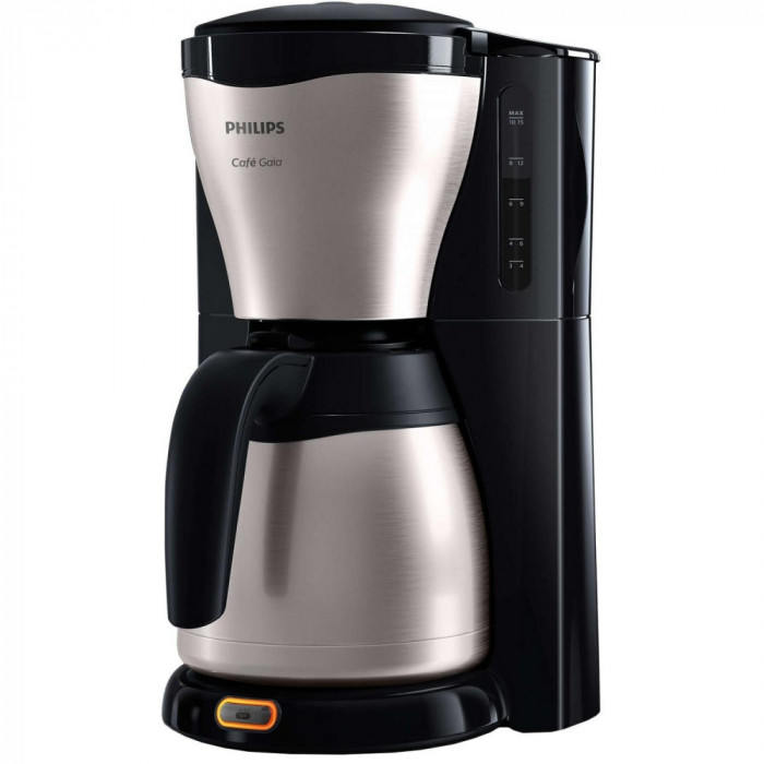 Cafetiera Philips Café Gaia HD7546/20, 1000W, Sistem Anti-picurare, Vas termorezistent din otel inoxidabil, 1.2 l, 2-15 cesti, Negru/Metalic