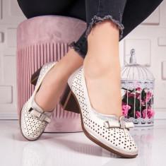 Pantofi dama cu toc bej Calenia