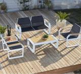 Set mobilier gradina / terasa Truva Bleumarin / Alb, 2 fotolii + canapea 2 locuri + masa de cafea