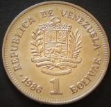 Moneda EXOTICA 1 BOLIVAR - VENEZUELA, anul 1986  *cod  3484 - UNC