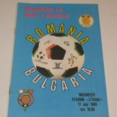 Program meci fotbal ROMANIA - BULGARIA (17.05.1989)