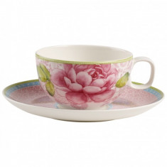 Ceasca si farfuriuta ceai Villeroy & Boch Rose Cottage roz