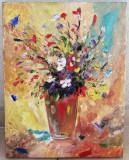 Tablou Natura statica Vas cu flori de camp pictura ulei pe panza 35x45cm, Impresionism
