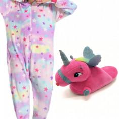 PJS157-10 Set pijama kigurumi + papuci de casa model unicorn