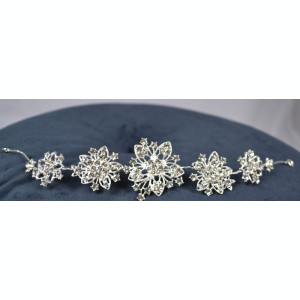 Diadema Argintie cu flori si pietricele