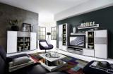 Set de mobila living din pal si MDF, 5 piese Jenise Alb / Gri