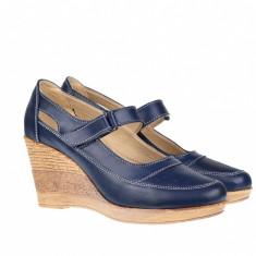 Pantofi dama cu platforma din piele naturala, foarte comozi P9154BLM