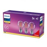 Set de 3 bec-uri LED 7W, E27, lumina calda, temperatura culoare 2700K, Philips