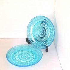 Farfurii cristal turquoise, colectie Kastehelmi - design Oiva Toikka, Iittala