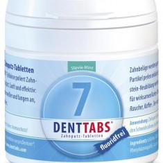 Tablete pentru curatarea dintilor cu menta si stevie, fara fluor - 125 tablete Denttabs