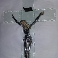 Crucifix vintage cu ISUS HRISTOS,CRUCIFIX MARE 37 CM,ISUS 25 CM,T.GRATUIT