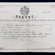 Brevet pentru Medalia Aparatorilor Independentei in Razboiul 1877-1878