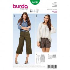 Tipar pantaloni 3/4 sau pantaloni scurti Burda Style 6600