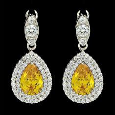 Cercei placati cu Aur 18K si Diamante, Artemis Platinum & Yellow