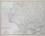 SOUTH - WEST RUSSIA - SHOWING THE EXTENT OF THE KINGDOM OF POLAND PREVIOUS TO ITS PARTITION IN 1722 by KEITH JOHNSTON , SCARA 1 / 3.456.000 , MIJLOC